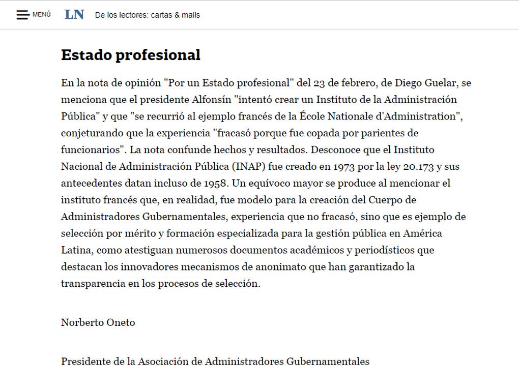 CARTA DEL LECTOR AL DIARIO LA NACIÓN : Asociación de Administradores ...